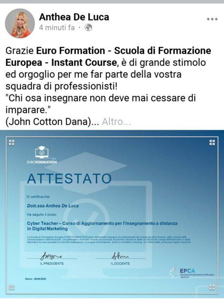 Attestato Anthea De Luca Insegnante EuroFormation Scuola di Formazione Digitale e Corsi Online