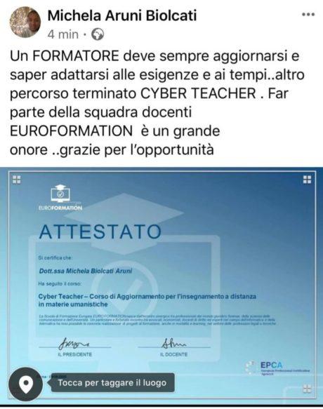 Attestato Michela Aruni Biolcati Insegnante EuroFormation Scuola di Formazione Digitale e Corsi Online