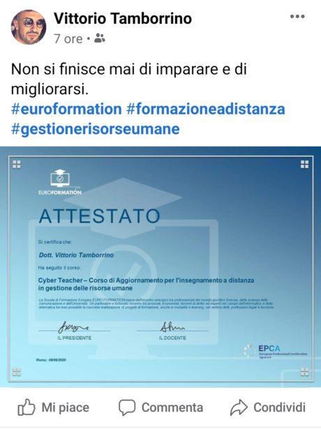 Attestato Vittorio Tamborrino Insegnante EuroFormation Scuola di Formazione Digitale e Corsi Online